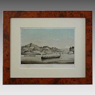 Lithograph Commodore Perry Expedition to Japan, View of Uraga, Yedo Bay, Americana - 19th Century, USA