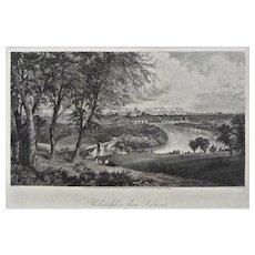 Philadelphia from Belmont Steel Engraving Americana Framed Pennsylvania - 19th Century, USA