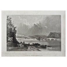 View of Northumberland Steel Engraving Americana Framed Pennsylvania - 19th Century, USA
