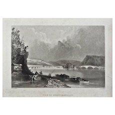 View of Northumberland Steel Engraving Americana Framed Pennsylvania - 19th Century, USA