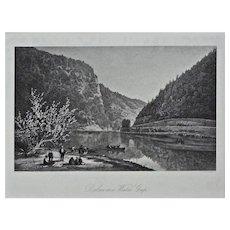 Delaware Water Gap Steel Engraving Americana Framed Pennsylvania - 19th Century, USA