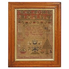 1808 Georgian Antique Needlework Sampler Embroidered Alphabet Verse Pictorial Jean Lang of Hamilton - 19th Century, Scotland