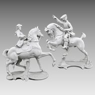 Pair Nymphenburg Equestrian Horse Rider Figurines 531 and 362 - Post 1910, Germany