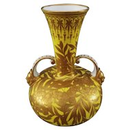 Royal Crown Derby Large Yellow Raised Gilt Handled Vase / Urn Butterflies - Pre 1891, England