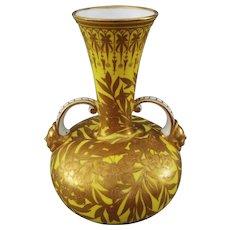 Royal Crown Derby Large Yellow Raised Gilt Handled Vase / Urn Butterflies - Pre 1891, England