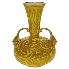 "7 3/4"" Antique Royal Crown Derby Yellow Gilt Butterfly Vase - pre 1891, England"