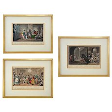 Pierce Egan's Life in London Aquatint Caricature Etchings Set of 3 by George and Robert Cruikshank - c. 1823, France - Red Tag Sale Item