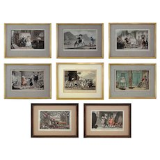 Set 8 Early English Lithographs Rowlandson Dr. Syntax Caricatures - c. 1820, England - Red Tag Sale Item