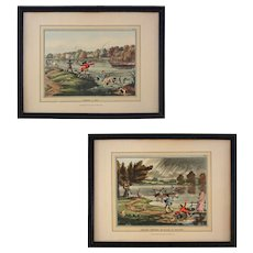 Pair English Fly Fishing Prints Thomas McLean Taking a Fly / Smiling Showers or Ducks in Delight