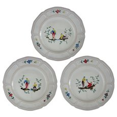 Chinoiserie Faience for Tiffany Plates Set of Three  - 20th Century, France - Red Tag Sale Item