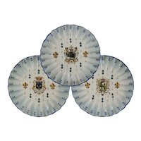Set 3 Armorial French Faience Dishes Plates Coat of Arms - c. 19th C., France