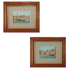 Pair Painted Miniature Views of Venice St. Marks Bell Tower, Ducal Palace and Rialto Bridge - c. 19th Century, Italy