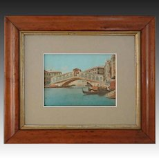 Venice Rialto Bridge View Hand Colored Lithograph - c. 19th Century, Italy