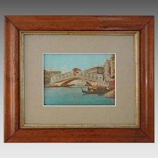 Venice Rialto Bridge View Hand Colored Lithograph - c. 19th Century, Italy