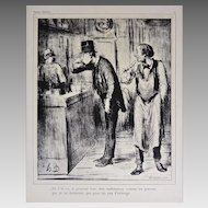 French Satirical Honore Daumier Lithograph AMI DE PERSONNE with Authentication Caricature - 20th Century, France