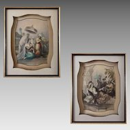 Pair Antique Middle Eastern Genre Scenes Women Antique Steel Engravings Ceylon Persia from Finden's Tableaux - c. 1834 to 1844, England