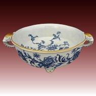 Antique Royal Worcester Elephant Handled Footed Bowl Blue White Floral English Registration Number - 1886, England