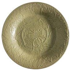 Antique Wedgwood Leaf Vines Plate Dark Khaki Drabware - 19th Century, England