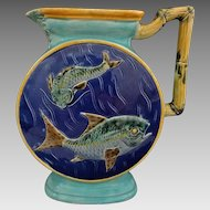Antique English Majolica Joseph Holdcroft Bamboo Handle Fish Pitcher Blue Turquoise Marked - c. 1879, England