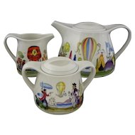 Villeroy & Boch Le Ballon Tea Pot, Cream, Sugar Bowl Set - 20th Century, Luxembourg