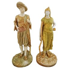 Pair Royal Worcester India Bringaree Blush Figurines - 1893 & 1918, England