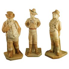 Three Antique Hadley Countries of the World Royal Worcester Figurine Set John Bull, Yankee, and Irishman - 1890's, England