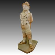 Antique Royal Worcester Irish Man Blush Porcelain Figurine - 1898, England