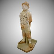 Antique Royal Worcester Irish Man Blush Porcelain Figurine - 1898, England