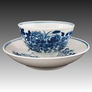 Dr Wall Worcester Chinoiserie Fences Pattern Cup and Saucer Crescent Moon Mark - Pre 1783, England
