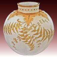 Antique Worcester Locke & Co. Blush Ivory Molded Porcelain Vase - pre 1902, England