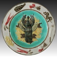 Antique Wedgwood Majolica Lobster Plate 2928 A - c. 1871, England