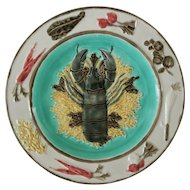 Wedgwood Majolica Turquoise Lobster Plate 2928A Aesthetic Period - c. 1871, England