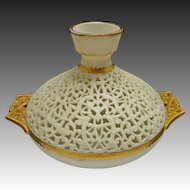 Worcester China Works Grainger Pierced / Reticulated Orientalist Gilt Handled Vase - 19th Century, England