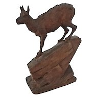 Swiss Carved Wood Goat Desceding a Mountain Figure Signed - Switzerland