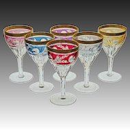 Set 6 Cut Crystal Wine Stems Goblets Different Colors