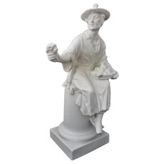 """Chinoiserie Royal Worcester Figurine White Bisque / Biscuit Mid-Century """"The Basket / Le Panier - circa 1957, England"""
