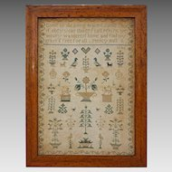 Needlework Sampler Birds Eye Maple Frame - 1846, English or American