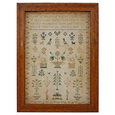 Embroidered Needlework Sampler Birds Eye Maple Frame - 1846, English or American