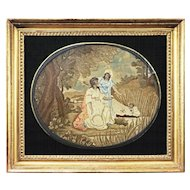 Moses in Bulrushes Needlework Picture Eglomise Mat Gilt Frame Antique - late 1700's