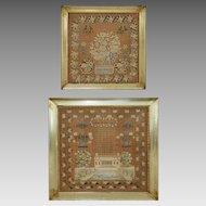 Pair Related Schoolgirl Needlework Samplers Architectural Floral Framed - 1830's, Pennsylvania