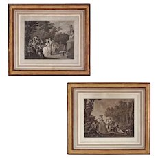Pair Early Copper Engravings after Swedish Painter Nicolas LAVREINCE Musical Theme - c. 1800's, France