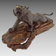 Japanese Bronze Tiger Figure Sculpture Signed Characters on Angled Carved Wood Base