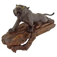 Japanese Bronze Tiger Figure Sculpture Signed Characters on Angled Carved Wood Base Japan
