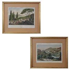 Pair Early Italian Views Villa d'Est Tivoli Lithograph and Valerian Way Engraving - 19th Century