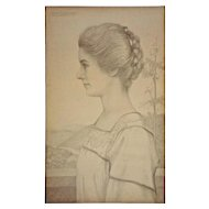 William Fuller Curtis Pencil Drawing Portrait Young Woman Profile Signed Americana - 1908, USA