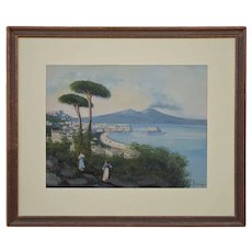View of Gulf of Naples and Vesuvius Gouache Painting Signed