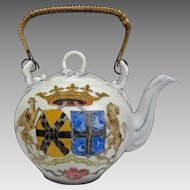 Antique Armorial Large Signed Porcelain Teapot Double Crowned Shield Chinese Export Style Upright Wicker Covered Handle  - 1882, England