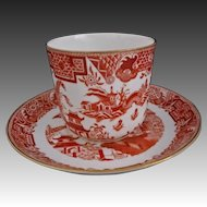 Antique Royal Worcester Chinoiserie Cup Saucer Brick / Red / Orange White Gilt B389 - c. 1890, England