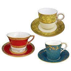 3 Sets Royal Worcester Cabinet Cup and Saucer - 1869, 1932, 1941, England