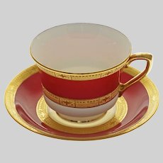 Royal Worcester Raised Gilt Red Porcelain Cabinet Cup & Saucer C2669 - 1941, England